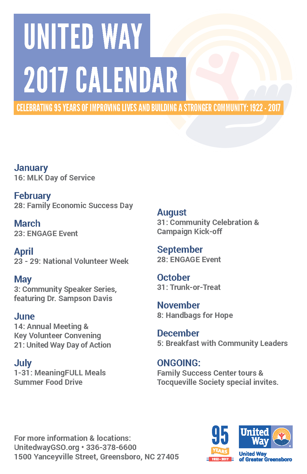 2017 United Way of Greater Greensboro Calendar